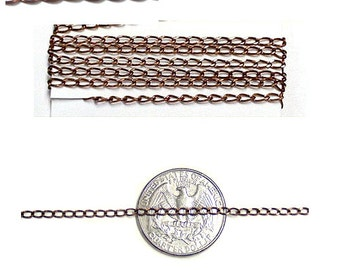 Antique Copper Curb Chain - sold by the foot - 3 x 2mm loop - copper jewelry chain with antiqued finish