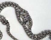 Sale ~Vintage Wedding Necklace - Rhodium Silver & Cut Glass