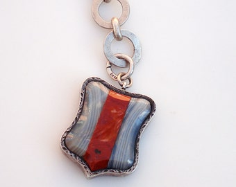 Victorian Sterling SIlver & Agate Shield Locket - Watch Fob