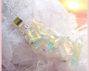 Marked Down - 10 Dollars Off - Was 36 - Sunshine Crystals Druzy - Large Crystal Formation - Sterling silver- Necklace  DD 8792