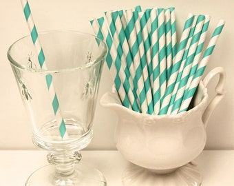 Paper Straws, 25 Cocktail Aqua Striped Paper Straws, Blue Paper Straws, Short Paper Straw, Drinking Straws, Weddings, Cocktail Party, Stripe