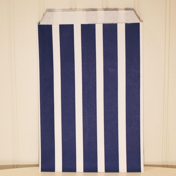 Paper Bags, 24 PARTY FAVOR BAGS, Navy Blue Vertical Stripe Treat Bags ...