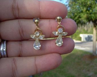 Adorable sparkly Angel Rhinestone dangle earrings in gold tone very sparkly angel has a gold tone Halo