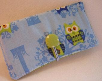 Blue Hoot Owl  Checkbook Cover , Vinyl Insert, Coupon, Wallet, Organizer Case