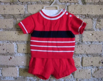 12M Knitted Vintage Cloud Soft Two Piece Playwear 50s / 1950s Baby Clothing Set