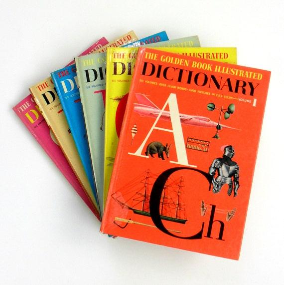 Reduced / Golden Book Illustrated Dictionary 1961 Hc / MCM Illustrations 6 Volume Complete Set / Vintage Childrens Book