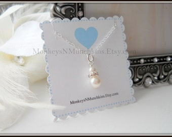 Classic Swarovski Pearl and Rhinestone Sterling Silver Necklace Flower Girl Junior Bridesmaid N005