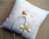 Ringbearer Wedding Beach Seashell Custom Personalized  Pillow
