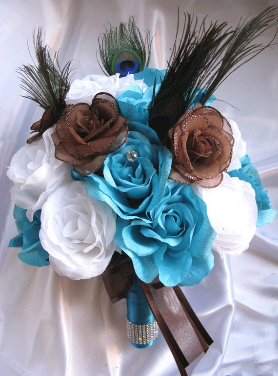 Wedding Flowers: brown and blue wedding flowers