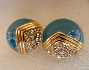 Elegant and refined  1960s Italian earrings - button earrings with gold, crystals and enamel -light  blue glossy -Art.619/2--