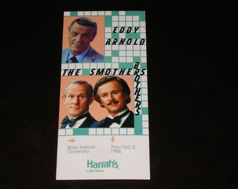 Unused Picture Postcard Eddy Anold The Smothers Brothers Harrah's Lake Tahoe 1986
