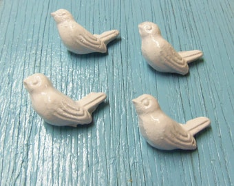 4 Bird Knobs Cast Iron Painted or Distressed You Choose Your Color(s) 2 Inches Drawer Pulls Set of 4 Cottage Chic