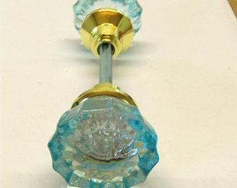 FREE SHIPPING Aqua Aquamarine Crystal Doorknob Set Handpainted Glass 2 Inch Knobs Blue
