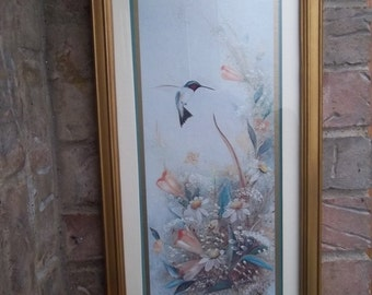 Sale - Vintage - Framed Artwork  - Flowers - Hummingbird -  Homco Inc. - Elegant Home Decor