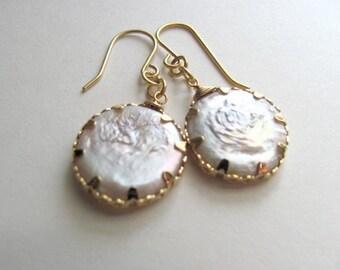 Pearl drop earrings, 14k gold plated fixtures, freshwater pearls, bridal, vintage-inspired