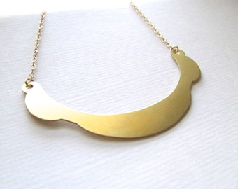 Scalloped crescent bib necklace on 14k gold plate chain, upcycled vintage jewelry, statement necklace