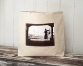 Big Cozy Tote - Boston Harbor Artist - Vintage Photograph - Natural Canvas Bag - Shopping Bag