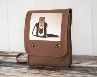 Messenger Bag - The Argoflex  - Field Bag - School Bag - Java Brown - Canvas Bag