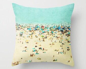 Throw Pillows // Nautical Decor // Coney Island Beach Beach Hut Decor // Beach Pillow // Blue Pillows, Turquoise Pillows, Teal Pillows