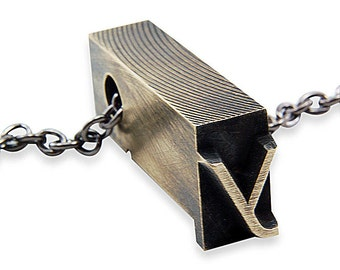 Letter Y  Letterpress Necklace - Brass Initial Personalized - Other Letters Available GDJ