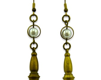 Brass Vintage and Pearl Earrings