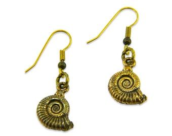 Ammonite Nautilus Fossil Earrings 133