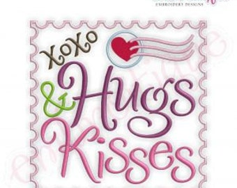 Hugs and Kisses xoxo stamp - Valentine's Day - Instant Download -Digital Machine Embroidery Design