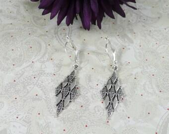 Art Deco Style Earrings Silver Filigree