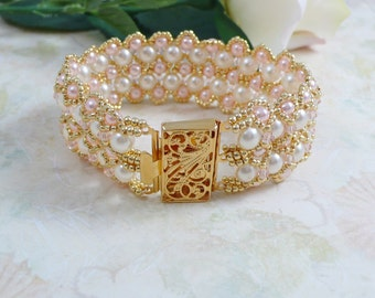 Cuff Bracelet Woven Embellished Pearl