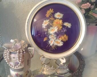 Vintage 3 D Picture Flowers ~  Vintage Round Bubbled Frame Picture ~ Purple Yellow Flowers ~  Unique Gift for Grandma or Mom ~ Wall Hanging