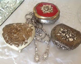 Tarnished Silver Trinket Boxes ~ Vintage Collection of Heirloom Boxes ~ Red and Silver Jewelry Boxes ~ Gift for Her ~ Unique Present