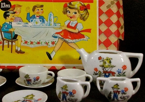Toy Tea Sets For Boys : Vintage s toy tea set in original box by little miss