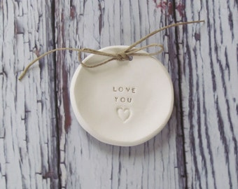 Love you Wedding ring bearer Ring dish Wedding Ring pillow