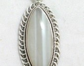 grayish blue Oval banded agate slide pendant in sterling silver 925