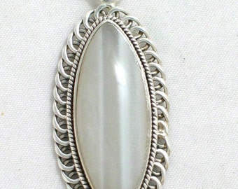 grayish blue Oval banded agate slide pendant in sterling silver 925