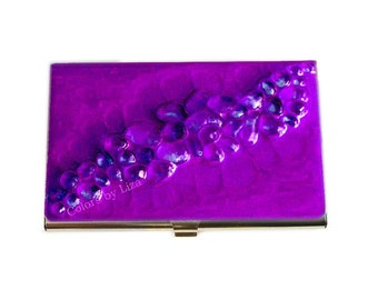 Recycled Glass Business Card Holder Inlaid in Hand Painted Enamel Purple Orchid Metal Wallet Personalized and Custom Color Options