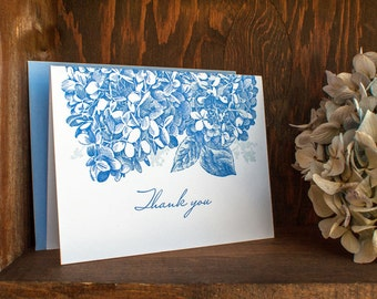 Letterpress thank you notes - Hydrangea flowers, blue (set of 6)