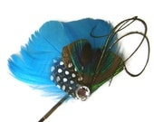 TURQUOISE BLUE Bridal Party Peacock HEART Feather Bobby Pin