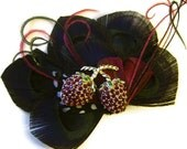 SALE ROCKER STRAWBERRY Peacock Feather Bridal Hair Fascinator Clip Black and Red Hot Wedding Trend Color Combo