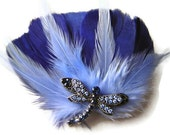 SALE BUTTERFLY PRINCESS Blue Feather Hair Clip Bridal Fascinator Clip Large Butterfly Rhinestone Ooak