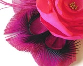 JENNIFER in Hot Pink Peacock and Flower Hair Fascinator Clip Wedding Bridal Party