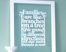 Family Tree Gift, Families are like branches on a tree - Papercut, gift for family, housewarming gift, family tree