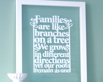 Family Tree Gift, Family tree frame, Families are like branches on a tree - Papercut, gift for family, family tree, family tree papercut
