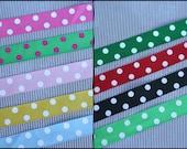 Polka dots ribbon, Grossgrain ribbon, polka dots party, crafts, ribbon by the yard