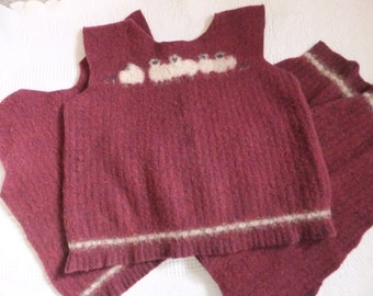 Felted Wool Blend Sweater Remnants Burgundy Sheep Lamb Fabric Material Sewing