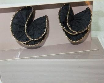 Vintage Shoe Clips Avon Black Ruffle with Box Retro Fabric Accessories