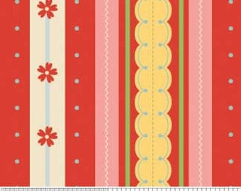 SALE Red Pink Yellow Stripe Fabric Delighted by The Quilted Fish for Riley Blake Stripe Print in Red, 1 Yard