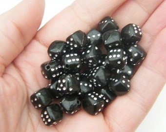 100 Acrylic black dice beads 9 x 9mm