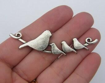 BULK 10 Bird connector charms antique silver tone B7
