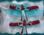 Aqua and Red Organza Wedding Garter Set AB